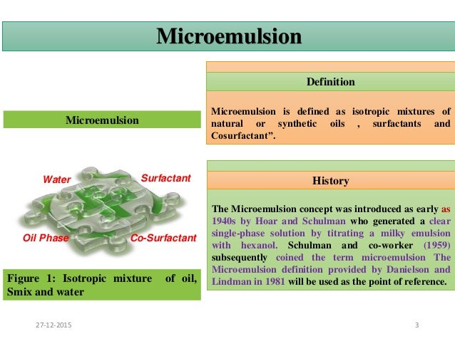 analysis of solubility and forming microemulsions To evaluate which oils and surfactants present better results at forming microemulsions, we pre-selected four different oils and two different.