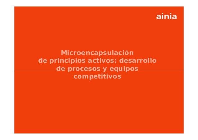www.ainia.es 1 Microencapsulación de principios activos: desarrollo de procesos y equipos competitivos