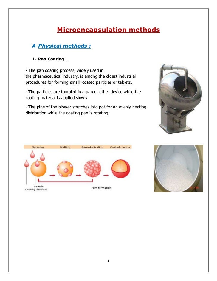 Microencapsulation methods   A-Physical methods :   1- Pan Coating :- The pan coating process, widely used inthe pharmaceu...