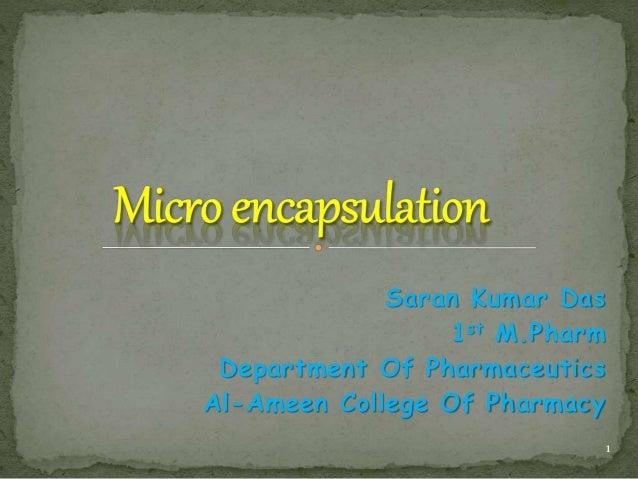 Saran Kumar Das 1st M.Pharm Department Of Pharmaceutics Al-Ameen College Of Pharmacy 1