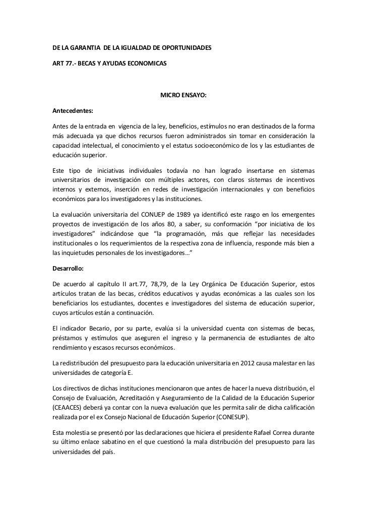 DE LA GARANTIA DE LA IGUALDAD DE OPORTUNIDADESART 77.- BECAS Y AYUDAS ECONOMICAS                                       MIC...