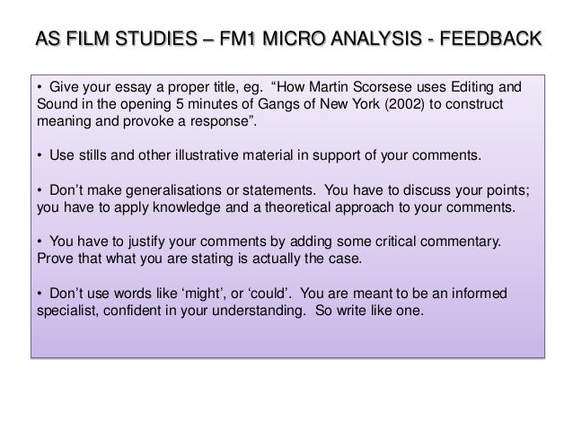 film studies essay titles Writing your micro essay 1 as film studies unit fm1 exploring film form: the micro-essay 2 what the exam board say.