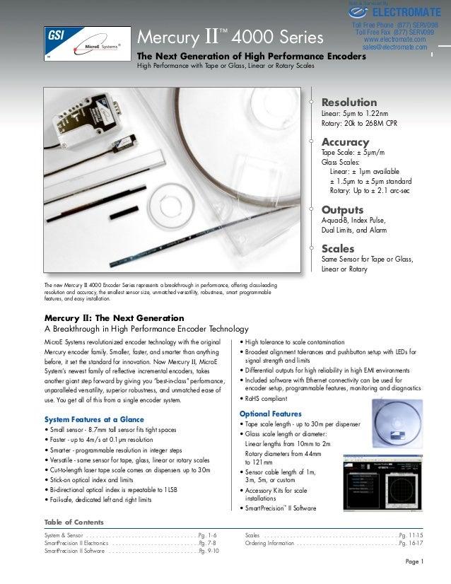 Micro e systems_mercuryii4000_datasheet
