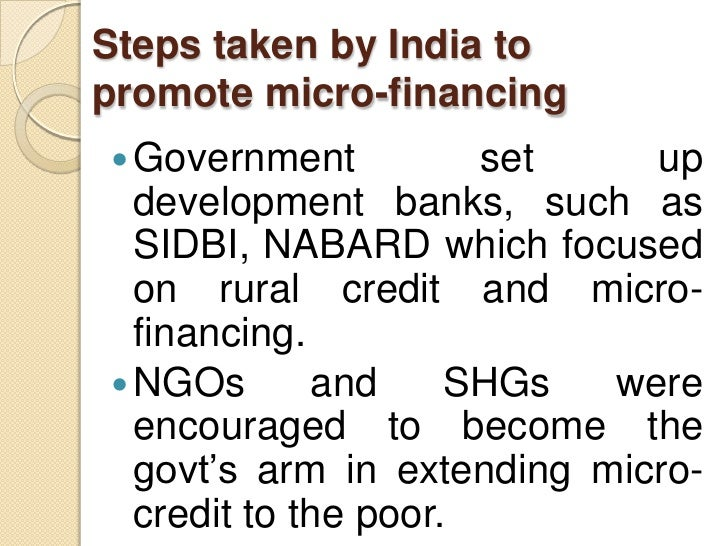 role and impact of micro finance institutions In mumbai this study sought to fill in the gap by examining the impact of  microfinance institutions on growth and development of small and medium  enterprises.