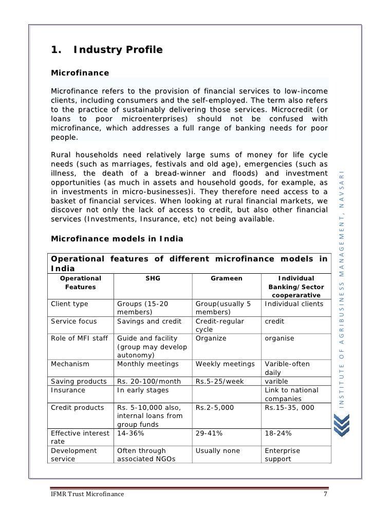 Microfinance 1 Notes: Microfinance (IFMR Trust, Kadi