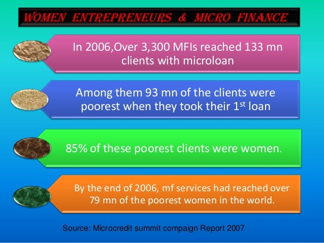 entrepreneurship and microfinance impact on the poor The impact of microfinance on female entrepreneurs in tanzania abstract this paper explores the effects of microfinance on the success of female entrepreneurs in tanzania.