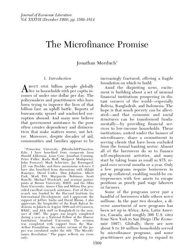 Journal of Economic LiteratureVol. XXXVII (Decmber 1999), pp. 1569–1614                                                   ...