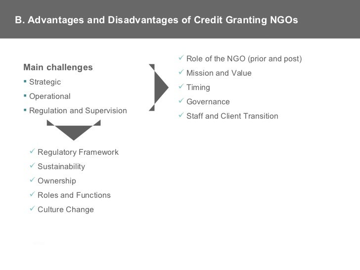 advantages and disadvantages of ngo The pros and cons of ngos a couple weeks ago i went to a talk made by a sudanese man by the name of gabriel bol deng, who faced unbelievable obstacles.
