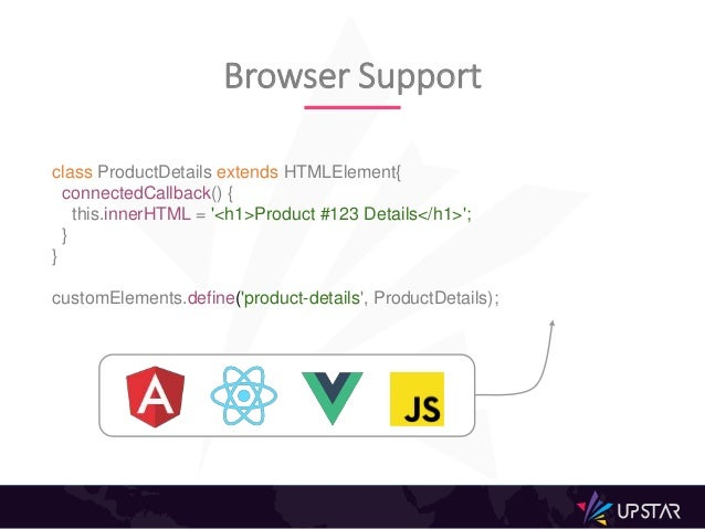 Browser Support class ProductDetails extends HTMLElement{ connectedCallback() { this.innerHTML = '<h1>Product #123 Details...