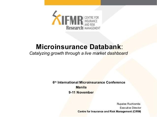 Microinsurance Databank: Catalyzing growth through a live market dashboard Rupalee Ruchismita Executive Director Centre fo...