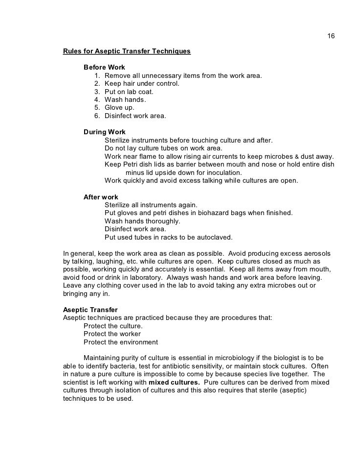 aseptic technique culturing microbes lab report