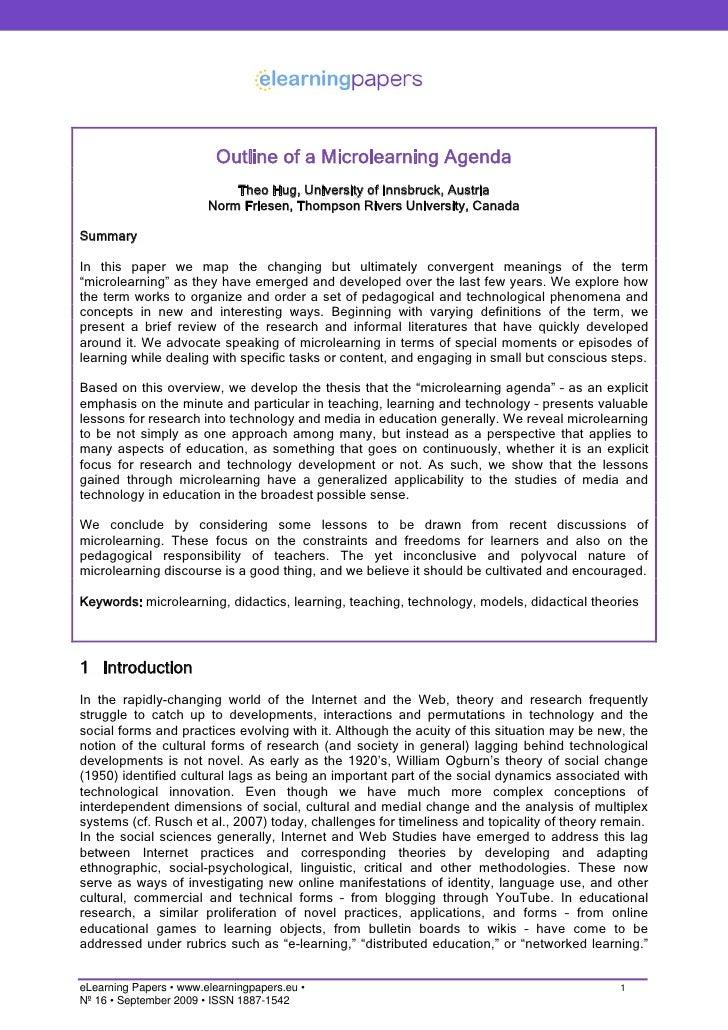 Outline of a Microlearning Agenda                             Theo Hug, University of Innsbruck, Austria                  ...