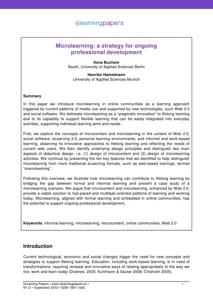 Microlearning: a strategy for ongoing                           professional development                                  ...