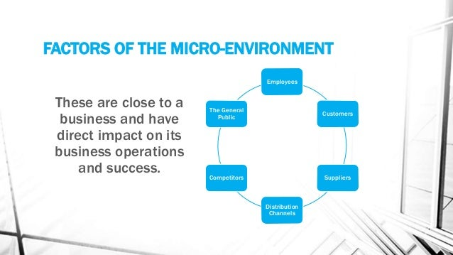 factors in the micro environment that impact on the success of the business You face six microenvironmental factors in your business activities, each made up of a self-contained microenvironment that stands alone but interacts with the others your workers, stakeholders and subcontractors or parts providers are three factors with a direct effect on your business.