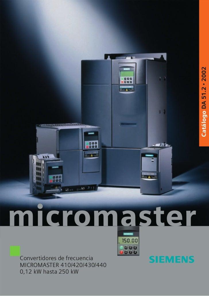 Catálogo DA 51.2 • 2002micromasterConvertidores de frecuenciaMICROMASTER 410/420/430/4400,12 kW hasta 250 kW