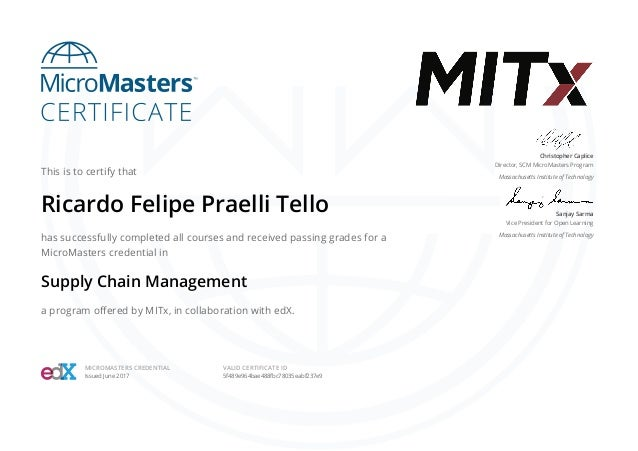 Mitx Micromasters In Supply Chain Management 2017