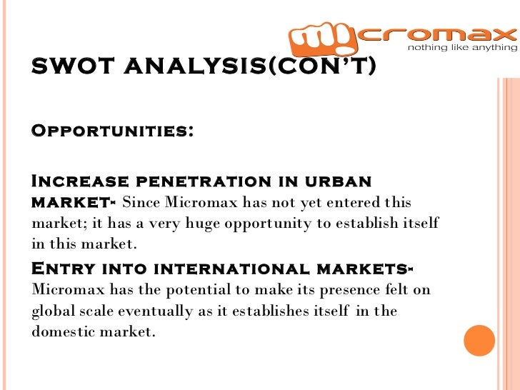 swot analysis of micromax Swot analysis of micromax is covered on this page along with its segmentation,  targeting & positioning (stp) analysis of micromax also covers its usp, tagline.