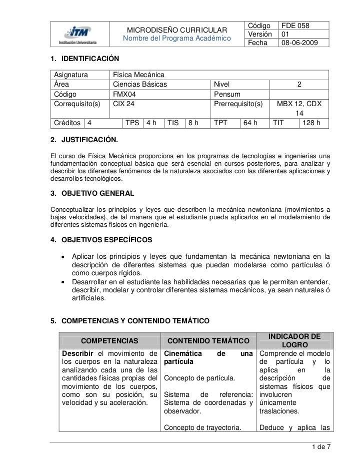 Código      FDE 058                         MICRODISEÑO CURRICULAR                                                        ...