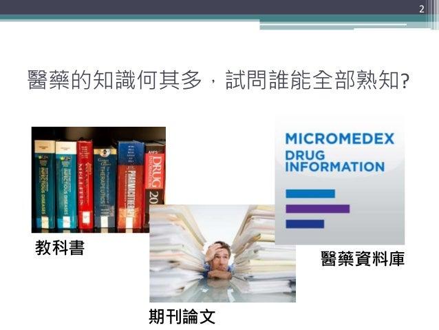 醫藥的知識何其多,試問誰能全部熟知? 2 教科書 期刊論文 醫藥資料庫