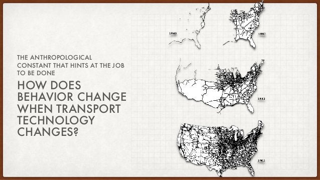 HOW DOES BEHAVIOR CHANGE WHEN TRANSPORT TECHNOLOGY CHANGES? THE ANTHROPOLOGICAL CONSTANT THAT HINTS AT THE JOB TO BE DONE