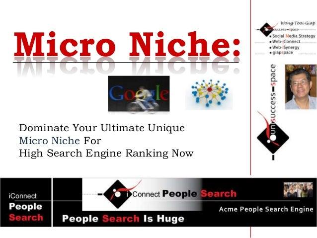 Dominate Your Ultimate Unique Micro Niche For High Search Engine Ranking Now Micro Niche: