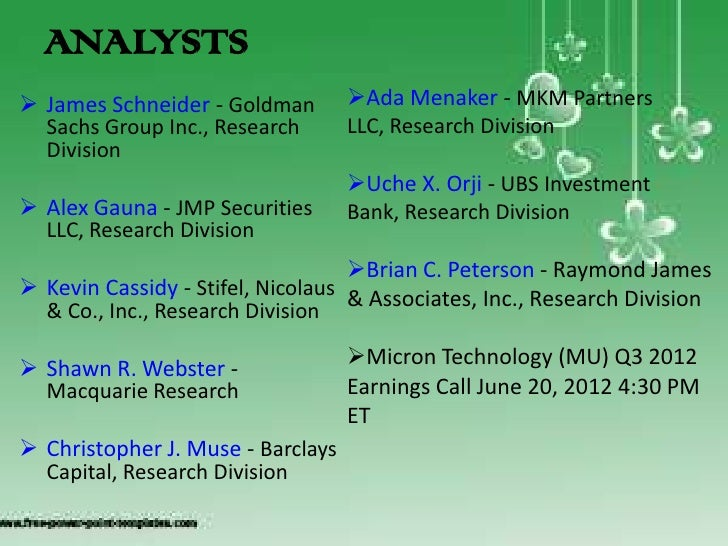 Micron Technology Management Discusses Q3 2012 Results - Earnings Call Transcript │Blogspot Slide 3