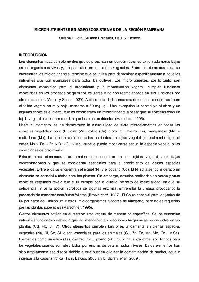 MICRONUTRIENTES EN AGROECOSISTEMAS DE LA REGIÓN PAMPEANA Silvana I. Torri, Susana Urricariet, Raúl S. Lavado INTRODUCCIÓN ...