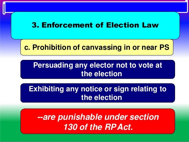 d. Other offences Smoking to be prohibited inside the PS Polling agents are not permitted to bring mobile phones inside th...