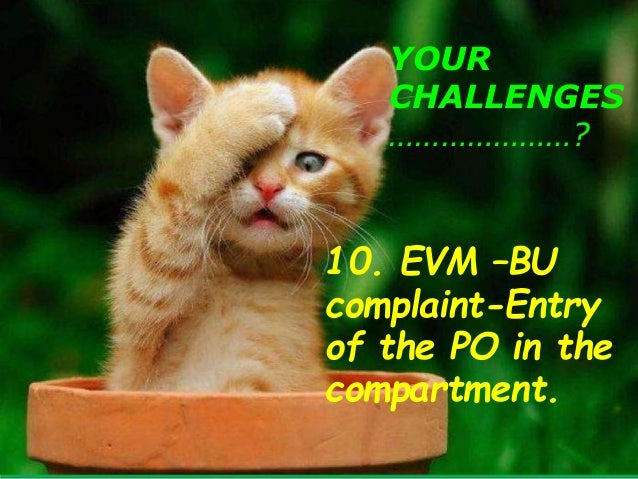 YOUR CHALLENGES …………………? 10. EVM –BU complaint-Entry of the PO in the compartment 6 PM- CLOSING HOUR