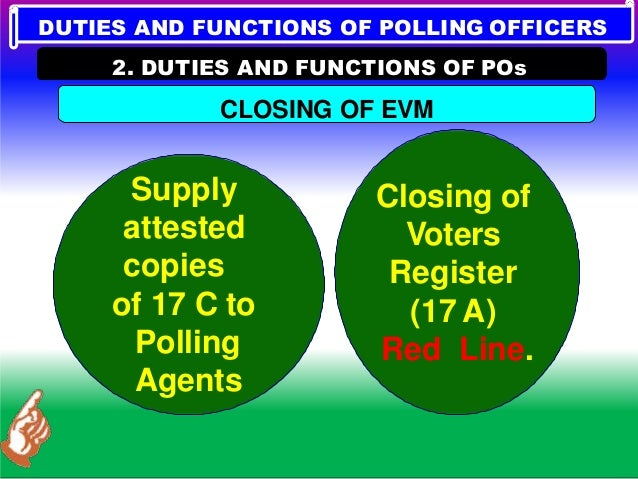 DUTIES AND FUNCTIONS OF POLLING OFFICERS 2. DUTIES AND FUNCTIONS OF POs V. END OF THE POLL Place the Control Unit and Ball...