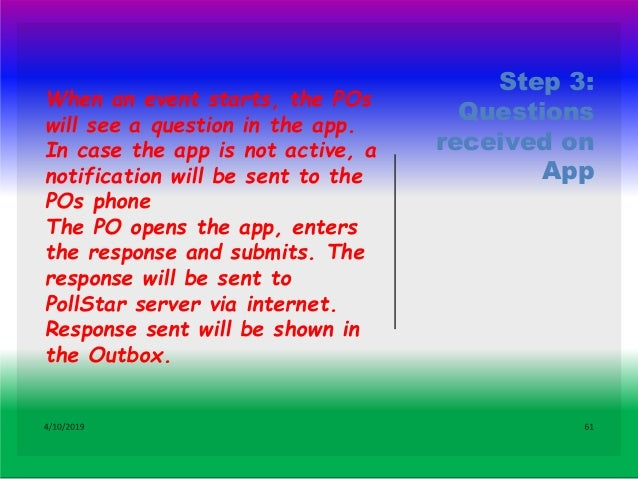 Step 4: PO receives a call from PollStar 4/10/2019 62 If PO does not respond through App, PO receives a call from PollStar...