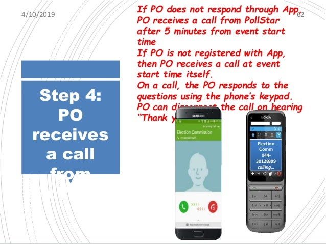 Step 4: PO receives a call from PollStar 4/10/2019 63 Two types of Question will be Asked Numeric Value Example: Please en...