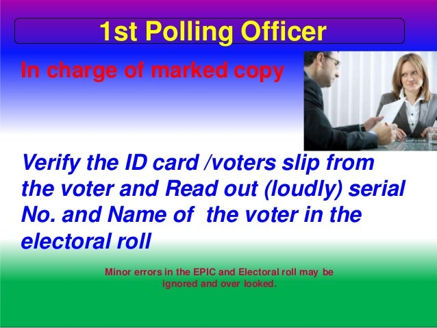 Issuance of Voters slip First ---Apply indelible ink (get enough time to dry the ink) From the upper tip of the nail to th...