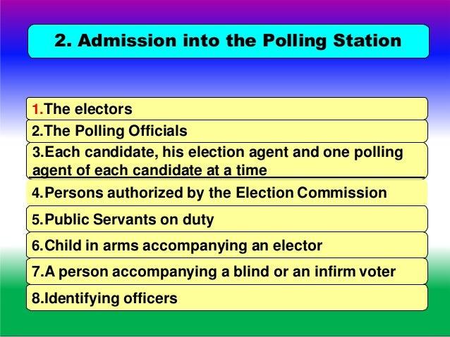DUTIES AND FUNCTIONS OF POLLING OFFICERS Cannot enter the polling station without your permission. Helps to maintain Law a...