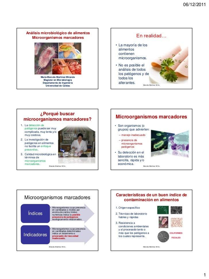 06/12/2011    Análisis microbiológico de alimentos       Microorganismos marcadores                                       ...