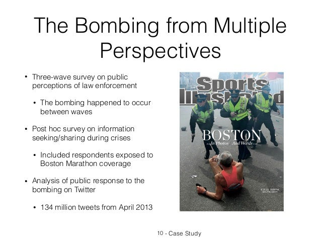 The Bombing from Multiple Perspectives • Three-wave survey on public perceptions of law enforcement • The bombing happened...