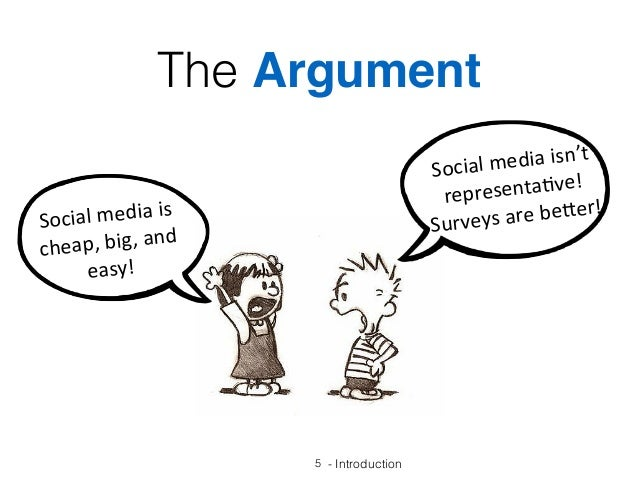 5 - Introduction Socialmediaisn't representa1ve! Surveysarebe7er! Socialmediais cheap,big,and easy! The Argu...