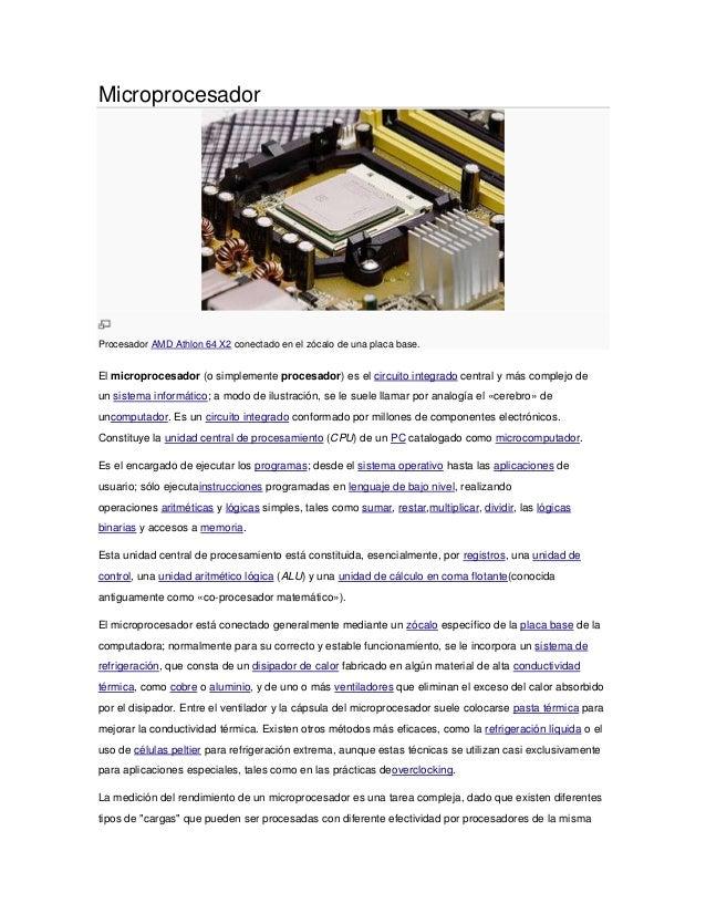 MicroprocesadorProcesador AMD Athlon 64 X2 conectado en el zócalo de una placa base.El microprocesador (o simplemente proc...