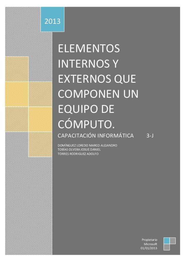 Elementos Internos Y Externos De Una Computadora
