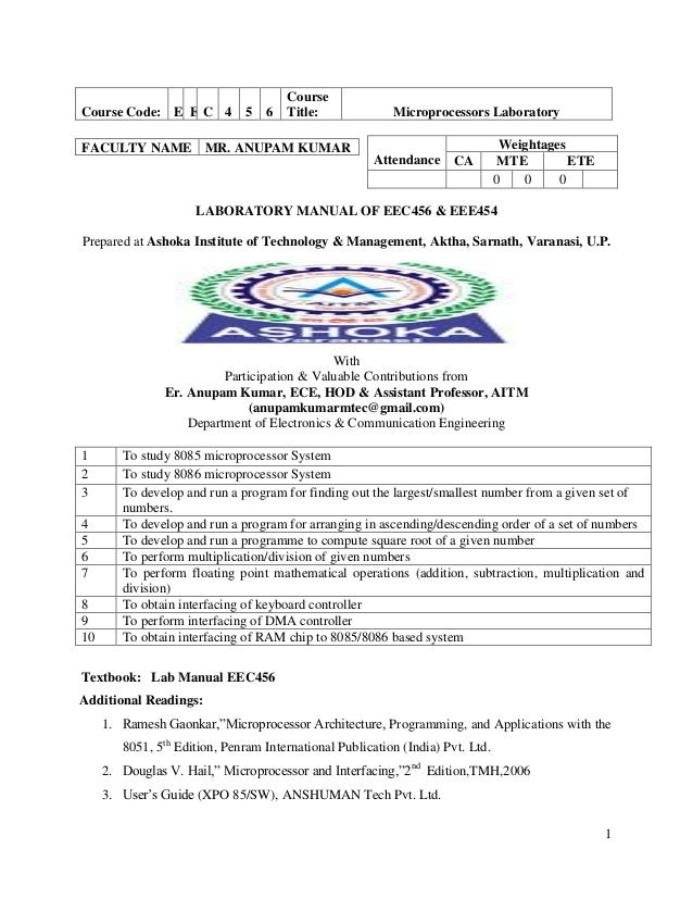 1 LABORATORY MANUAL OF EEC456 & EEE454 Prepared at Ashoka Institute of Technology & Management, Aktha, Sarnath, Varanasi, ...