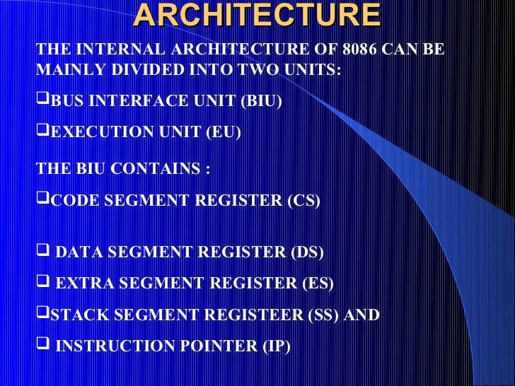 Microprocessors 1 8086 for Internal architecture of 8086