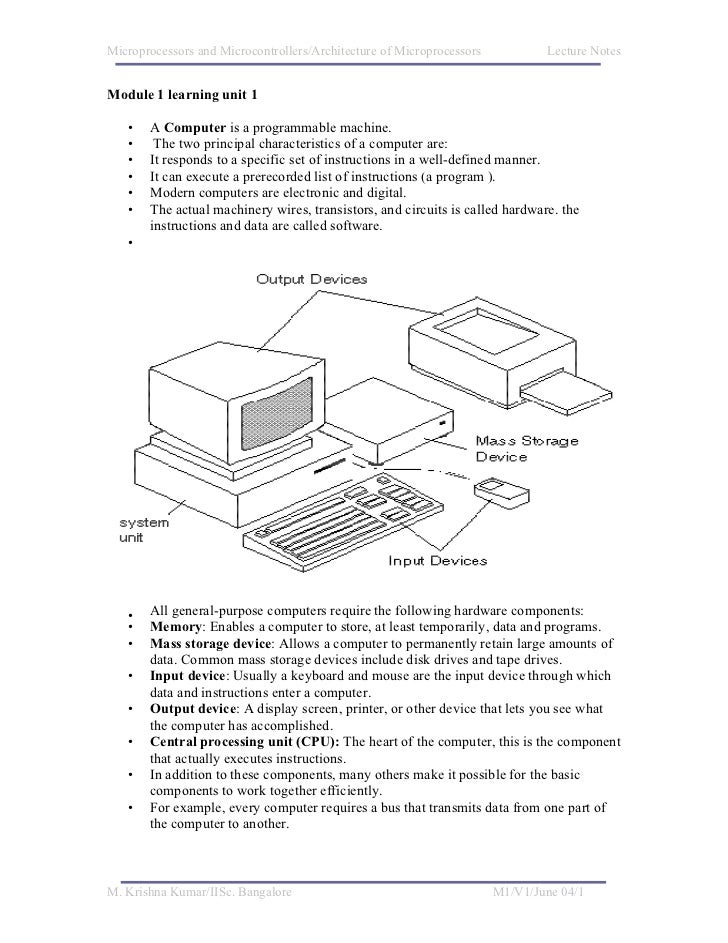 Microprocessors and Microcontrollers/Architecture of Microprocessors           Lecture NotesModule 1 learning unit 1   •  ...