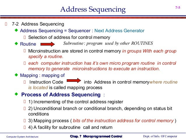 microprogram sequencer Circuit description this applet demonstrates a microprogrammed sequencerthe output of the microprogram counter (upc) addresses one address of the microprogram rom, which in turn generates the next microprogram address and a set of data outputs.