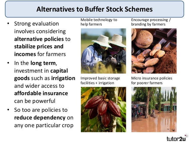 buffer stock schemes • buffer stock schemes seek to stabilize the market price of agricultural products by buying up supplies of the product when harvests are plentiful and selling stocks of the product onto the market when supplies are low.