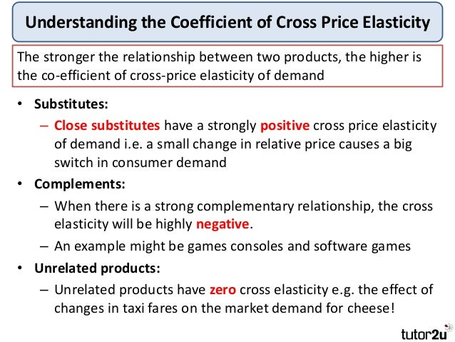 cross price elasticity Cross elasticity of demand (xed) measures the percentage change in quantity demand for a good after a change in the price of another for example: if there is an increase in the price of tea by 10% and the quantity demanded for coffee increases by 2%, then the cross elasticity of demand = 2/10 = +02.