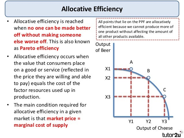allocative efficiency Allocative efficiency is the degree to which an action leads to more positive results than negative results if an action is.
