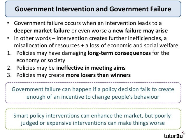 market failures government intervention 2 for some, market failures serve as a rationale for public intervention however, the fact that self-interested market behavior does not always produce felicitous.