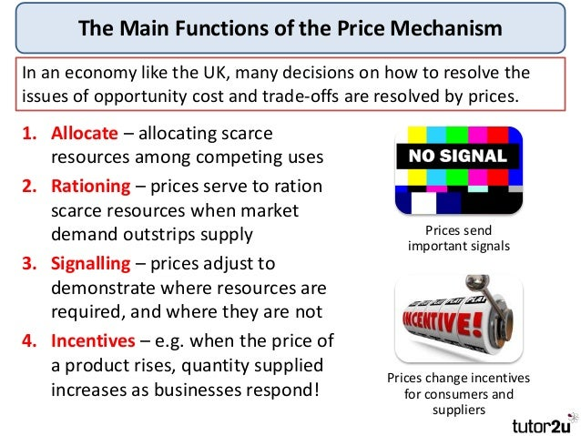 an introduction to the definition and workings of the price mechanism It is a largely self-regulatory mechanism generally resulting in market equilibrium where products demanded at a price are equaled by products supplied at that price' goods and services meanwhile, are defined as, 'the most basic products of an economic system that consist of tangible consumable items and tasks performed by individuals.