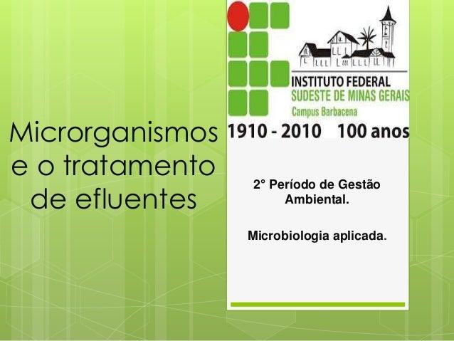 Microrganismos e o tratamento de efluentes 2° Período de Gestão Ambiental. Microbiologia aplicada.