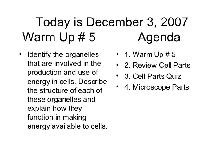 Today is December 3, 2007 Warm Up # 5  Agenda  <ul><li>Identify the organelles that are involved in the production and use...
